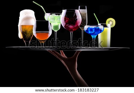 different alcohol drinks set on a tray  - beer, wine, cocktail,juice, champagne, scotch, soda - stock photo