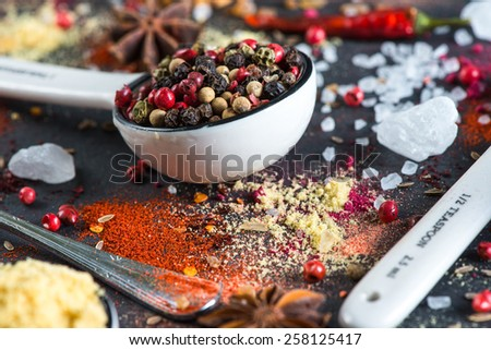 different aromatic spices background - stock photo