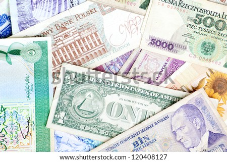 Different banknotes, money background - stock photo