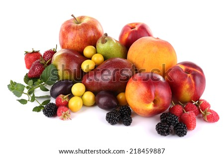 Different berries and fruits isolated on white - stock photo