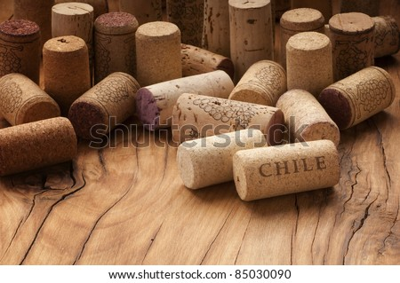 Different bottles used wine corks - stock photo