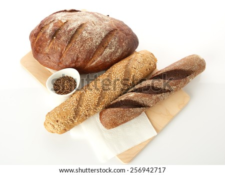 Different bread. Food background. - stock photo