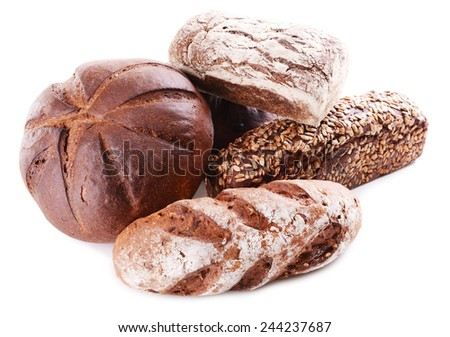 Different bread isolated on white - stock photo