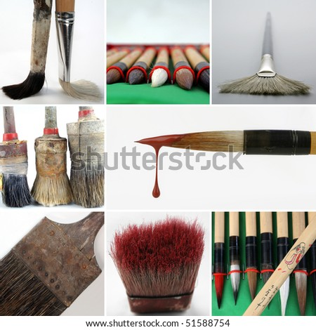 different brushes - stock photo