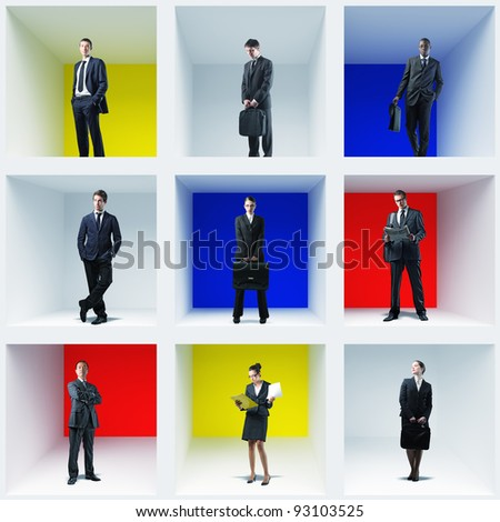 different businesspeople in colorful box 3d - stock photo