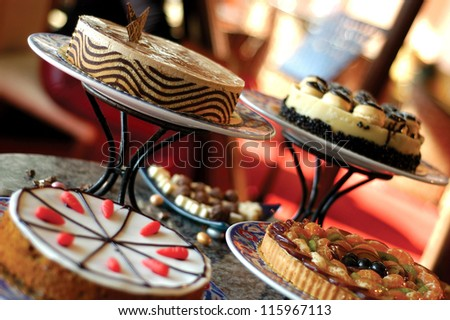 different cakes on a stand - stock photo