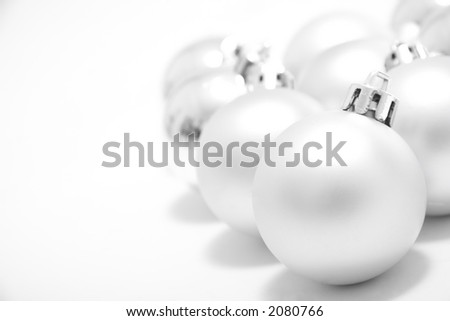 Different christmas decoration on white background. - stock photo