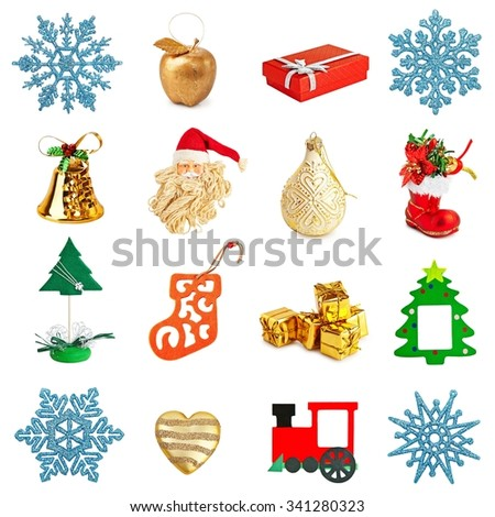 Different Christmas decorations (snowflakes, bells, Christmas tree, Santa Claus, train, apple, gift boxes) on a white background .  - stock photo