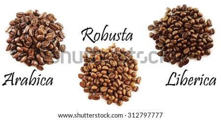 Different coffee beans isolated on white - stock photo