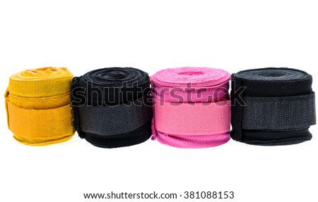 Different color boxing or MMA hand wraps or bandages isolated on white - stock photo