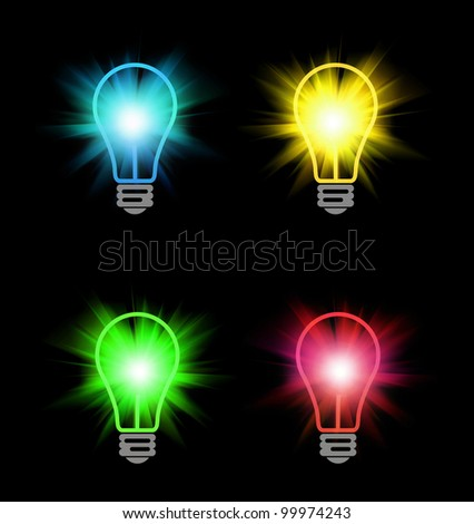 different color bulbs on black - stock photo