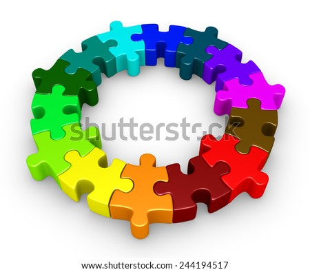 Different colored puzzle pieces are connected forming a circle - stock photo