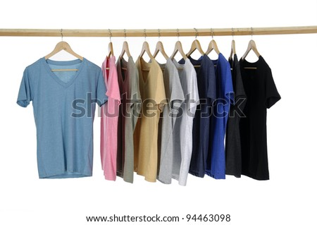 different colors on wooden hangers - stock photo