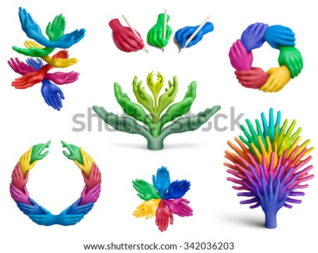 Different compositions of plasticine hands on white background - stock photo