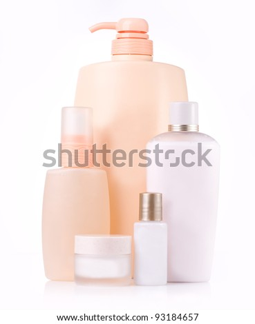 different cosmetic bottle - group isolated - stock photo