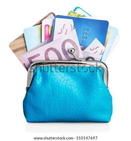 Different credit cards and euro banknotes in purse isolated on white. focus on credit card and banknotes - stock photo