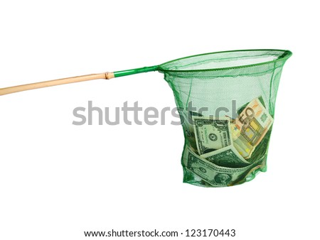 Different currencies caught in a fishing net - symbol of lured investors (manual focus) - stock photo