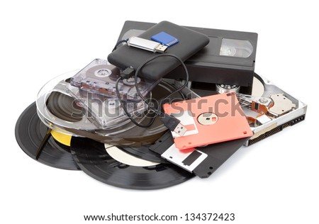 Different data storage devices - stock photo