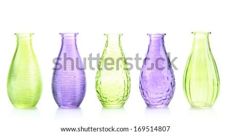Different decorative vases isolated on white - stock photo