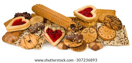 different delicious cookies closeup - stock photo