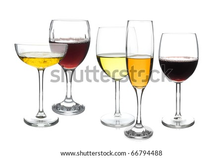 Different design of wine glasses on white background - stock photo