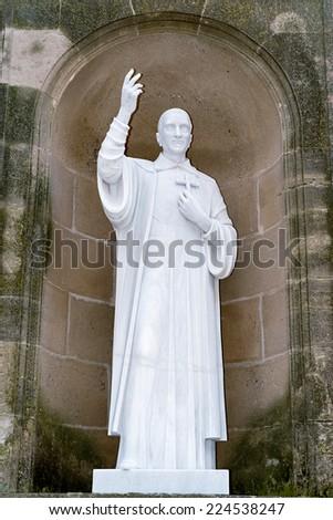 Different details Abbey of Santa Maria de Montserrat and mountain - stock photo