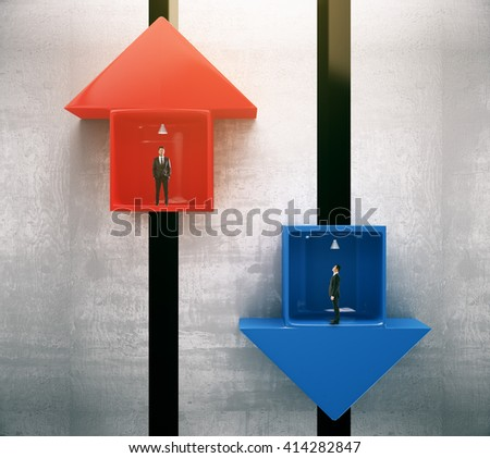 Different direction concept with red and blue arrow elevators with businessmen going up and down. 3D Rendering - stock photo