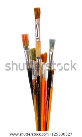 different dirty paintbrushes of painter - stock photo