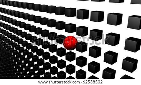 different element, a red sphere within a grid of black cubes. individuality concept - stock photo