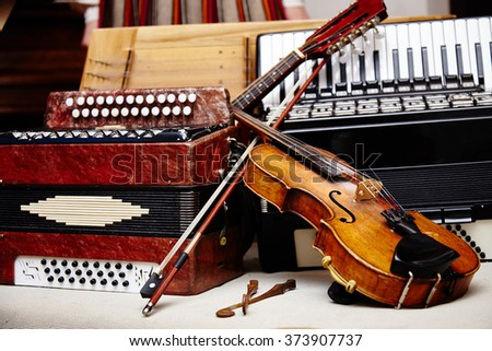 Different ethnic music instruments. Save culture. Ethnic world. National instruments.  - stock photo