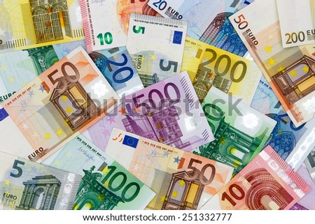 Different Euro banknotes from 5 to 500 EuroDifferent Euro banknotes from 5 to 500 Euro - stock photo