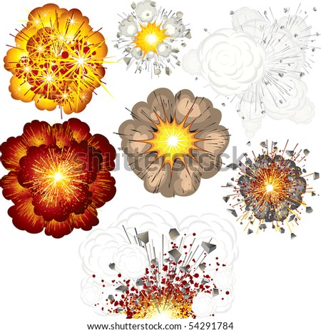 Different explosions (52110694 id vector) - stock photo