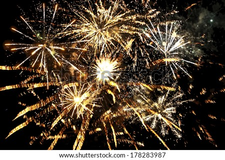 different fireworks over night sky  - stock photo