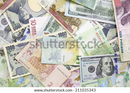 different foreign currency background- concept of exchange rate - stock photo