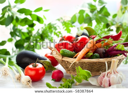 Different fresh vegetables on the table - stock photo