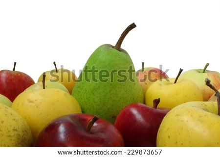 Different fruits are a bunch occupy floor frame - stock photo