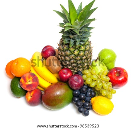 different fruits isolated on white background - stock photo