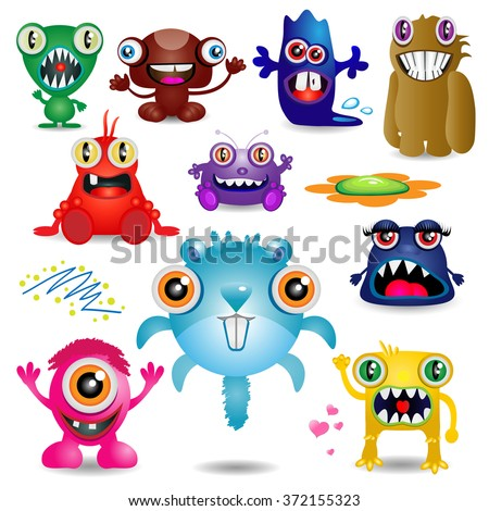 different funny monsters - stock photo