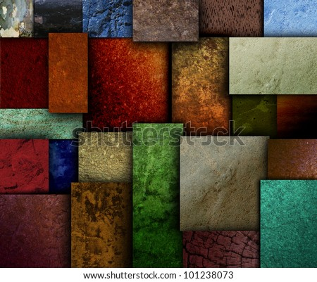 Different geometric square and rectangle textured patterns with many earth tone colors. Use it for a decorative grunge background. - stock photo