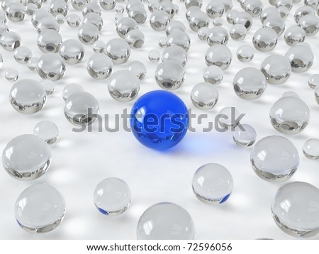 Different glass blue ball - stock photo