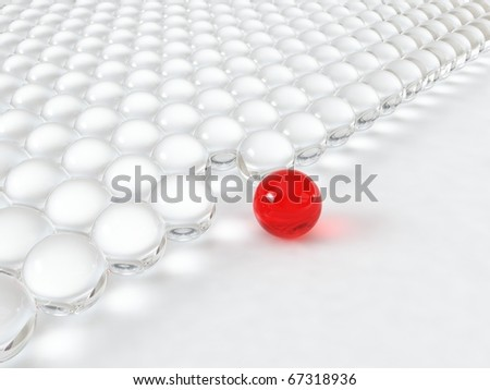Different glass red ball - stock photo