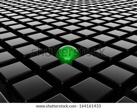 Different green ball among black cubes  - stock photo