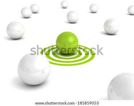 Different green ball on target out from white balls. Individual business leadership success concept 3d render illustraition - stock photo