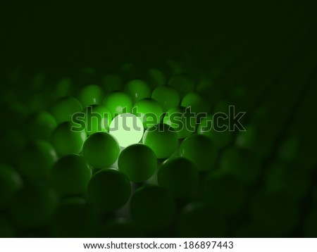 Different green ball, standing out of the crowd concept - stock photo