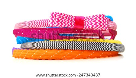 Different headband for hair on a white background isolate  - stock photo