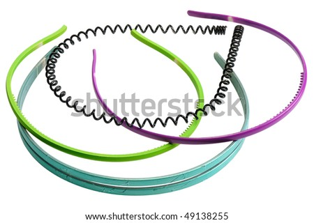 Different hoops for hair on a white background, isolated - stock photo