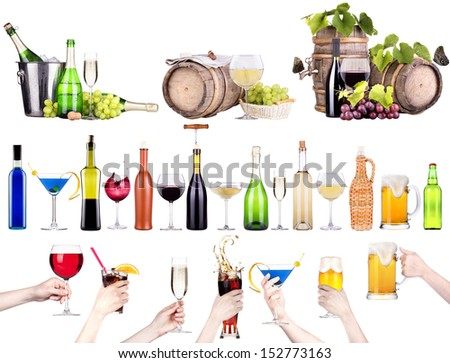 different images of alcohol - beer,martini,cola,champagne,wine,juice - stock photo