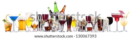 different images of alcohol isolated on a white background - stock photo