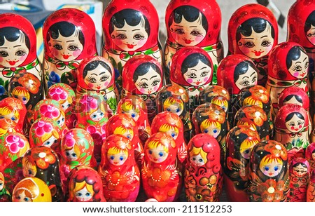 different in pattern and color matryoshka - stock photo