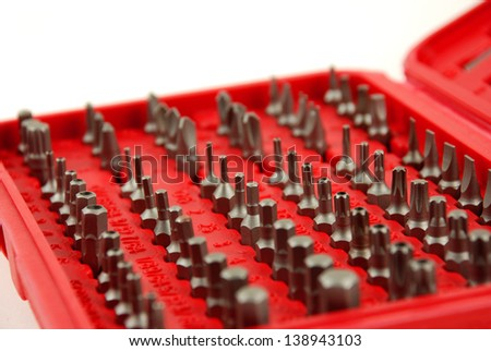 different interchangable bits for screwdriver - stock photo